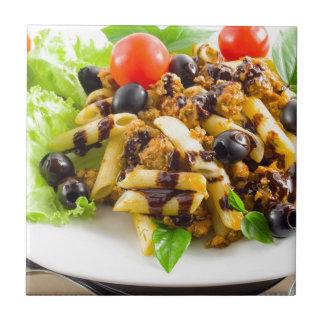 Dish of Italian pasta rigatoni with bolognese Ceramic Tile