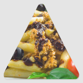 Dish of Italian pasta with bolognese sauce Triangle Sticker