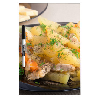 Dish of stewed potatoes with meat and spices Dry-Erase board