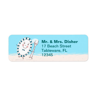 Dish Running with Spoon Bride and Groom Label