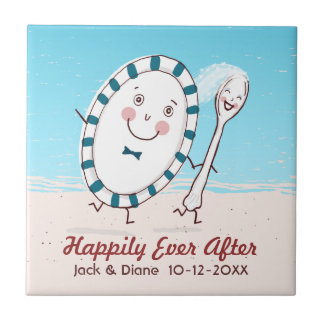 Dish Runs Away with the Spoon Beach Wedding Tile