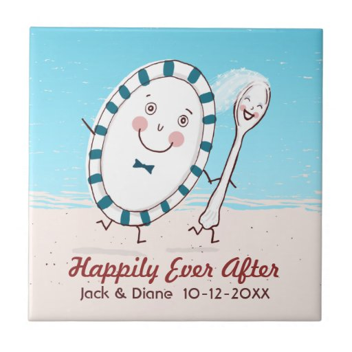 Dish Runs Away with the Spoon Beach Wedding Ceramic Tiles