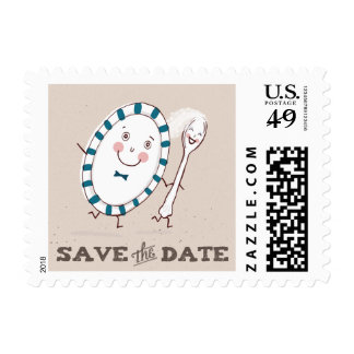 Dish Runs Away with the Spoon Save the Date Postage