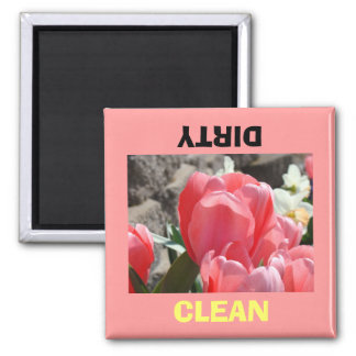 Dish Washer magnets Dirty Clean Pink Tulips