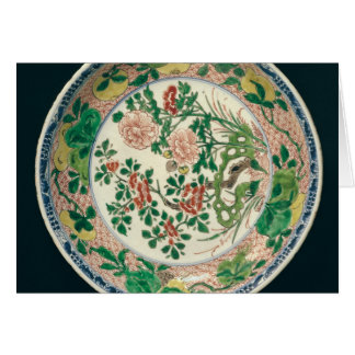 Dish with famille verte decoration card