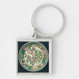 Dish with famille verte decoration keychain