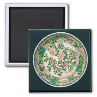 Dish with famille verte decoration refrigerator magnets