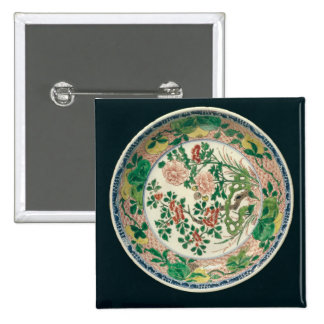 Dish with famille verte decoration pinback button