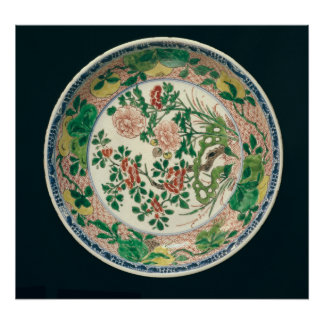 Dish with famille verte decoration poster
