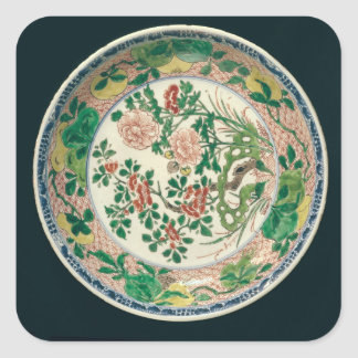 Dish with famille verte decoration stickers