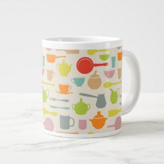 Dishes Pattern Large Coffee Mug
