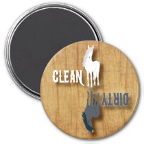 Dishwasher Clean Dirty Dishes Chores Horse Equine Magnet