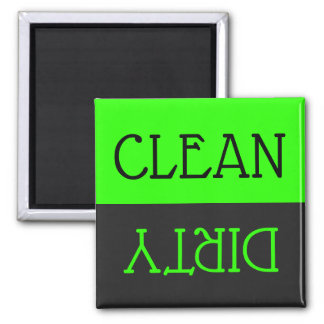 Dishwasher Clean Dirty Dishes Green Black Kitchen Magnet