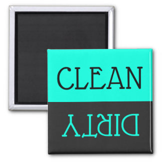 Dishwasher Clean Dirty Dishes Turquoise  Black Magnet