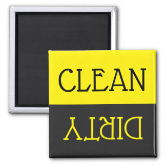Dishwasher Clean Dirty Dishes Yellow Black Kitchen Magnet
