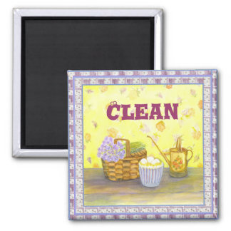"Dishwasher Magnet #1 ""Clean"" on Eggs & Flowers"