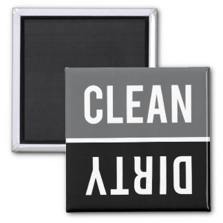 Dishwasher Magnet CLEAN DIRTY - Gray and Black