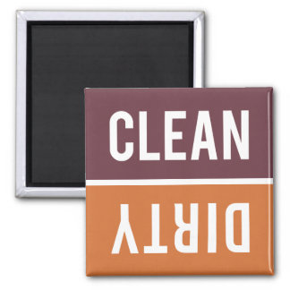 Dishwasher Magnet CLEAN | DIRTY - Orange Burgundy