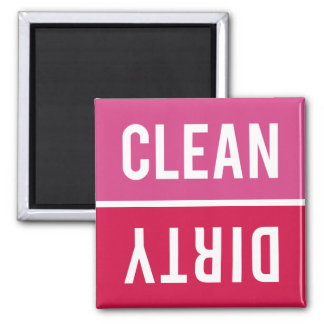 Dishwasher Magnet CLEAN   DIRTY - Pink Red