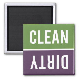 Dishwasher Magnet CLEAN   DIRTY - Purple & Green