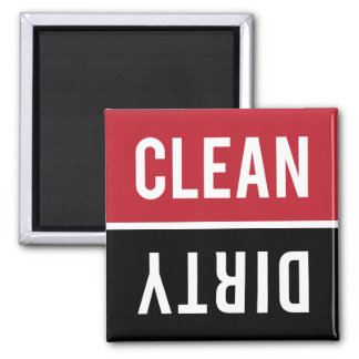 Dishwasher Magnet CLEAN DIRTY - Red and Black