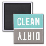 Dishwasher Magnet CLEAN | DIRTY - Turquoise &amp; Gray<br><div class='desc'>Turquoise blue,  warm gray,  and white CLEAN | DIRTY magnets.  Just reverse or flip the magnet to clean or dirty on the front of the dishwasher to inform your family about the dishes inside.  Simple modern design.</div>