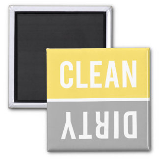 Dishwasher Magnet CLEAN | DIRTY - Yellow & Gray