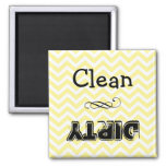 Dishwasher magnet: clean or dirty (yellow chevron) 2 inch square magnet