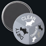 """Dishwasher Magnet Gray Dog Clean Dirty Running<br><div class=""""desc"""">Take some of the mystery out of your life by knowing the status of your clean or dirty dishes with a dishwasher magnet. Gray tones with black and white accents. Cute Scotty Dogs to let you know if your dishes are clean, dirty or running. Perfect dishwasher magnet to help your...</div>"""
