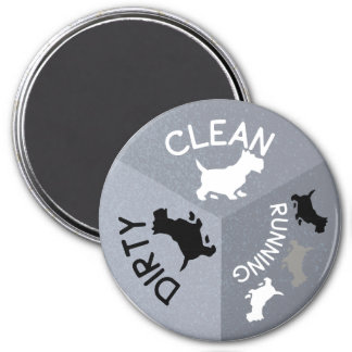 Dishwasher Magnet Gray Dog Clean Dirty Running