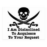 Disinclined para acceder a su petición postal
