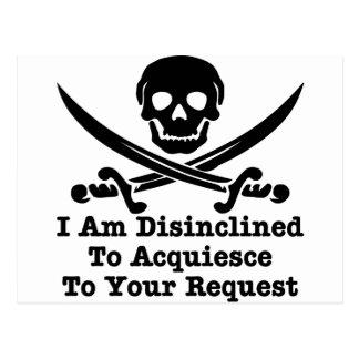 Disinclined para acceder a su petición postales