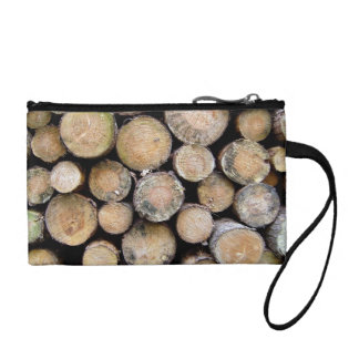 Disk Texture of Cut Tree Trunks Change Purse