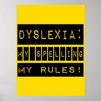 Dislexia ¡Mi deletreo mis reglas Disléxico Impresiones