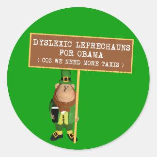 Disléxico anti de la parodia de Obama Pegatina Redonda