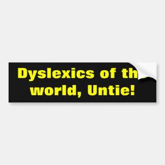 Disléxicos del mundo etiqueta de parachoque