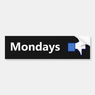 Dislike Mondays - Bumper Sticker (White Text)