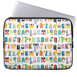 Disney Alphabet Mania Pattern Laptop Sleeve
