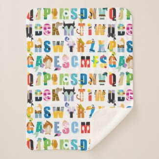 Disney Alphabet Mania Pattern Sherpa Blanket