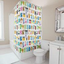 Disney Alphabet Mania Pattern Shower Curtain