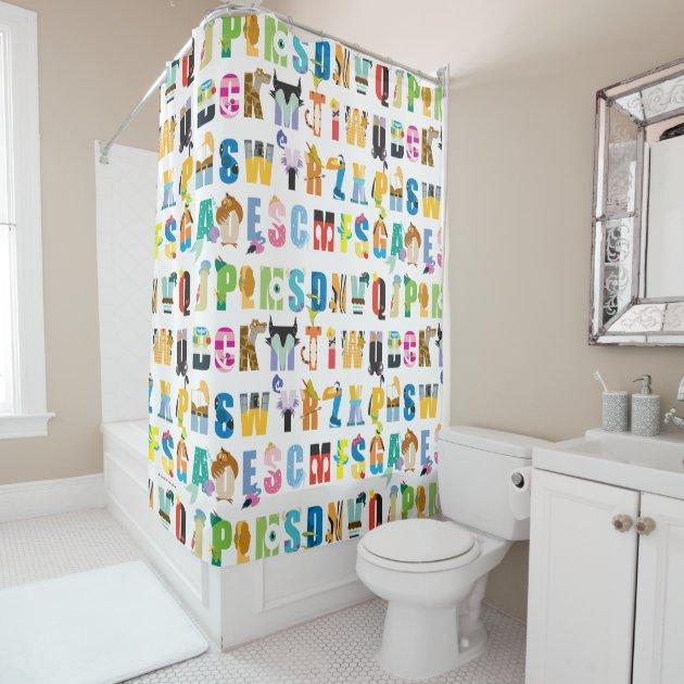 Disney Alphabet Mania Pattern Shower Curtain | Zazzle.com