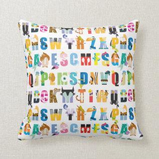Disney Alphabet Mania Pattern Throw Pillow at Zazzle