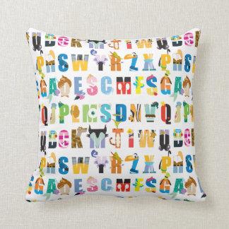 Disney Alphabet Mania Pattern Throw Pillow