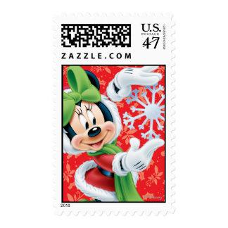 Disney: Día de fiesta Minnie que sostiene el copo Timbres Postales