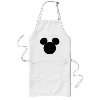 Disney Logo | Black Mickey Icon Long Apron