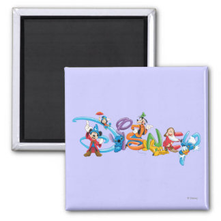 Disney Logo   Mickey and Friends 2 Inch Square Magnet