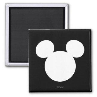 Disney Logo | White Mickey Icon 2 Inch Square Magnet