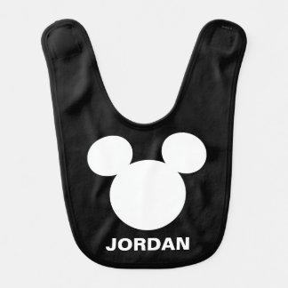 Disney Logo   White Mickey Icon Baby Bib