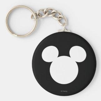 Disney Logo | White Mickey Icon Basic Round Button Keychain