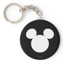 Disney Logo | White Mickey Icon Keychain